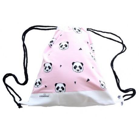 mochila de oso panda rosa