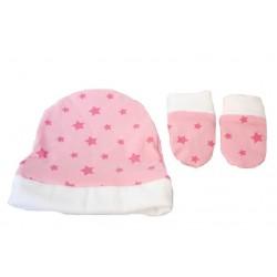 manoplas y gorrito recien nacido rosa