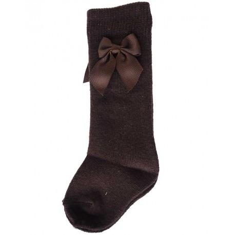 Calcetines altos niña bebe lazo marrón