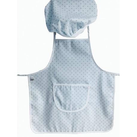 delantal infantil + gorro Minichef topitos azul