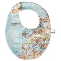 Babero para bebé mapamundi