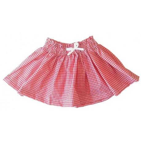 Falda bebé cuadros con roja