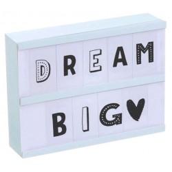 light box azul con 85 letras