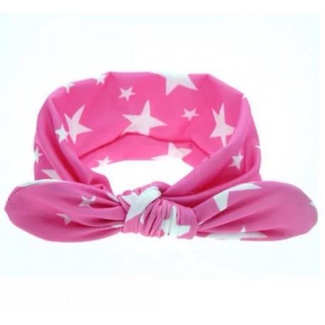 Cinta pelo bebe rosa con estrellas blancas
