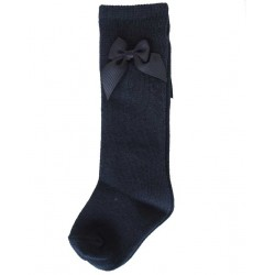 Calcetines alto niña lazo azul marino