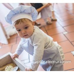 delantal infantil + gorro Minichef azul y blanco