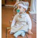 delantal infantil + gorro Minichef topos beige