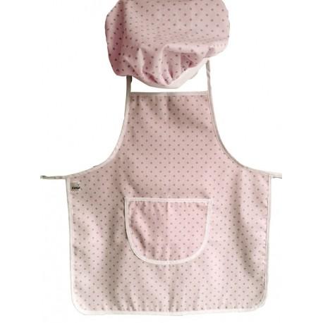 delantal infantil + gorro Minichef topitos rosa