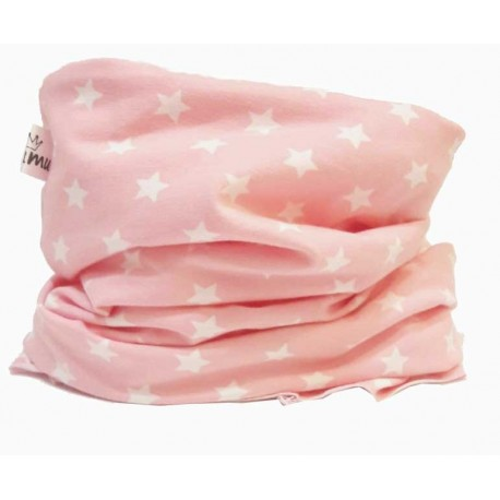 Cuello buff bebé rosa estrella