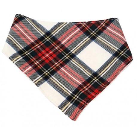 Bandana para bebé escocesa blanca/roja