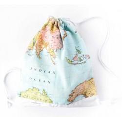 mochila de cuerdas mapa mundi