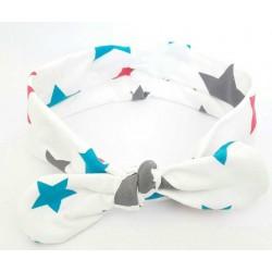 turbante bebe niña blanco con estrellas