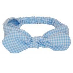 turbante para bebé vichy azul