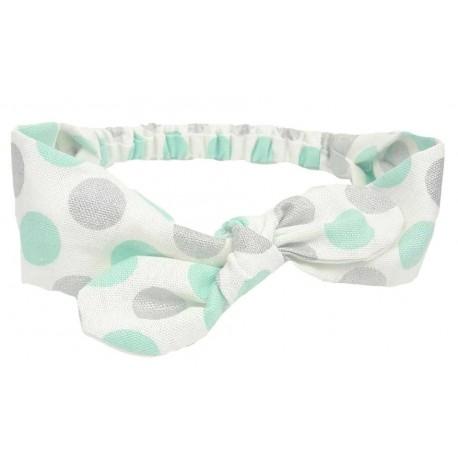turbante bebé puntos azul y plata