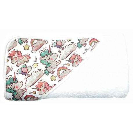 Capa de baño bebé unicornios