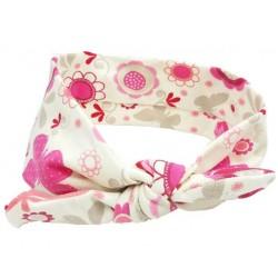turbante para bebé margaritas rosas