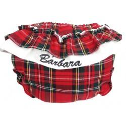 cubre pañal volantes escoces rojo