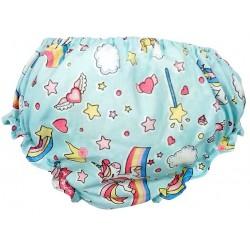 Braguita cubrepañal bebe unicornio azul