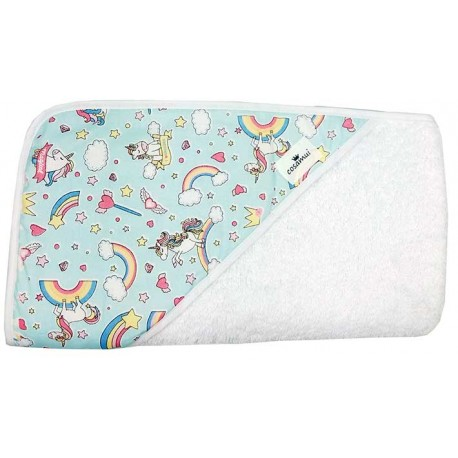 Capa de baño para bebé unicornio azul