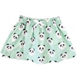 Falda bebé panda verde mint