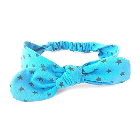 turbante bebé azul estrella gris