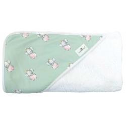 Toalla capa de baño recien nacido elefante mint
