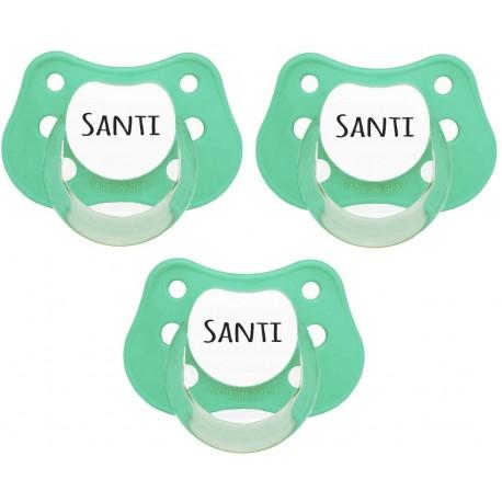Chupetes Personalizados Con Nombre.Chupetes Personalizados Tetinas Anatomicas Color Verde Mint