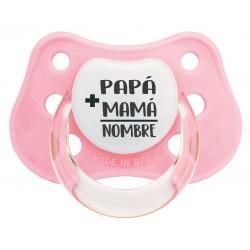 Chupete bebé mamá papá bebé rosa