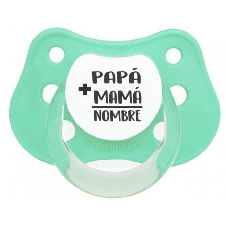 Chupete personalizado bebé mamá papá verde