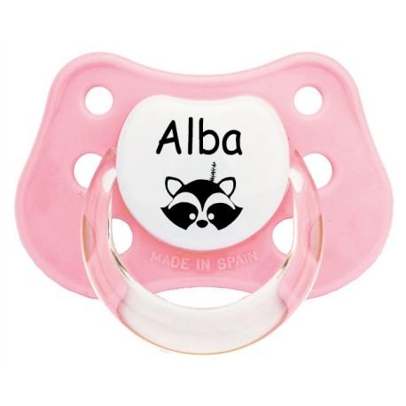 Chupete personalizado mapache tipi rosa