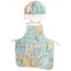 delantal infantil + gorro Minichef mapamundi