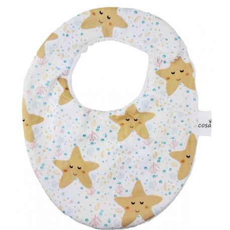 Babero bebe algodón estrellas mar