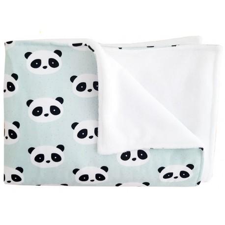 manta para recien nacido panda mint