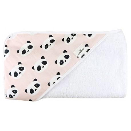 Toalla capa de baño bebé new panda rosa