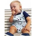 Peto bebé niño espalda abierta panda mint