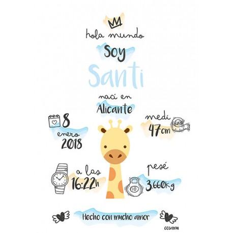 Laminas personalizada nacimiento jirafa