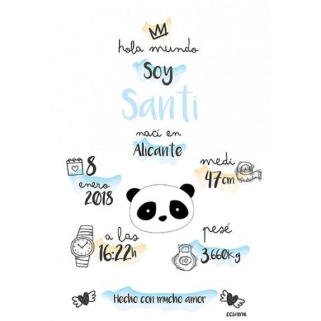 Laminas personalizada nacimiento panda