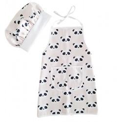 delantal infantil + gorro Minichef panda rosa