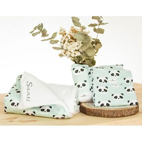manta bordada, nececer y cambiador regalo panda mint
