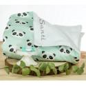 pack panda mint manta bordada y chupete personalizado