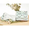 manta bordada y portadocumentos para bebé panda mint