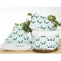 capa baño personalizada, neceser y cesto pack regalo personalizado panda mint