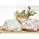 manta bordada, nececer y cambiador regalo panda rosa