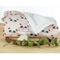 pack panda rosa manta bordada y chupete personalizado