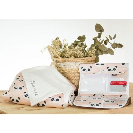 manta bordada y portadocumentos para bebé panda rosa