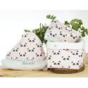 capa baño personalizada, neceser y cesto pack regalo personalizado panda rosa