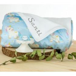 Manta bordada y chupete personalizado regalo bebé original
