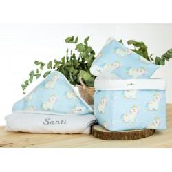 capa baño personalizada, neceser y cesto pack regalo personalizado rainbow unicorn