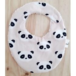 Babero para bebé algodon panda rosa