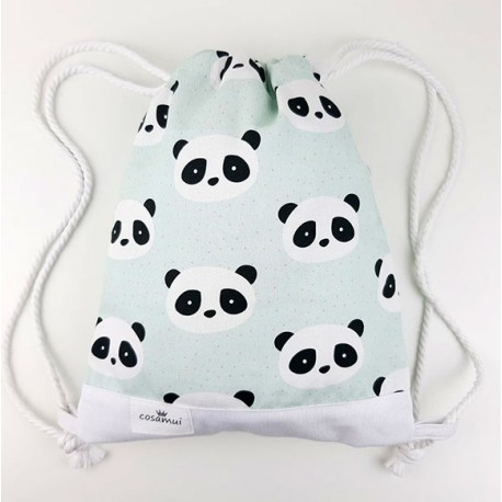 bolsa o mochila infantil o adulto colegio panda mint